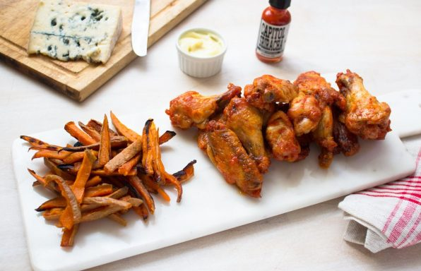 Chicken wings with sweet potato fries for a healthy carb refill and serotonin boost