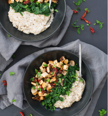 Cauliflower rice with tofu mushrooms and greens